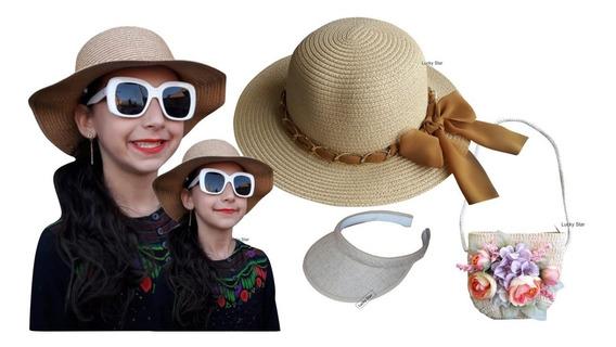 Bolsa Infantil + Viseira Praia + Chapéu 4 Até 8 Anos Kit