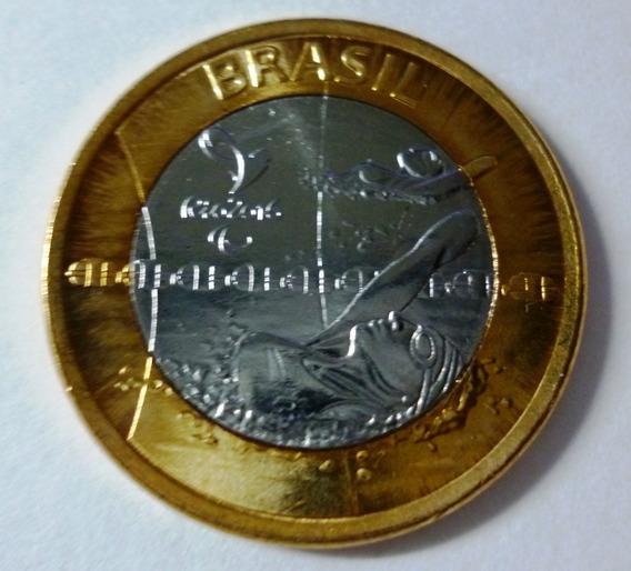 Brasil Moneda Bimetalica 1 Real 2016 J Paralimpicos Natacion