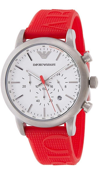 Relógio Emporio Armani Ar11021 Luigi Red Silicone Casual