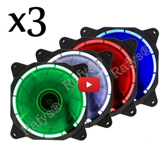 Cooler Fan Led Vermelho Azul Branco Verde 12cm 120mm Pc Gamer 3 Unid