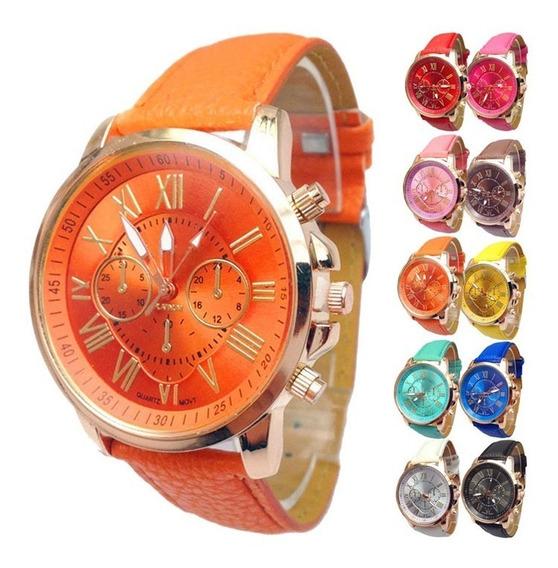 Lote 5 Reloj Relojes Geneva Hombres Mujeres Alta Calidad