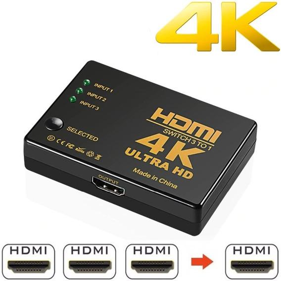 Adaptador Switch Hub Hdmi 3x1 Ultra Hd 4k