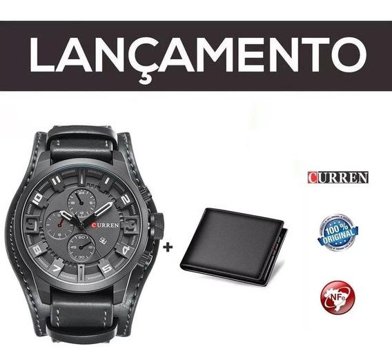 Relógio Masc Curren Preto Original Couro C/ Nf + Carteira