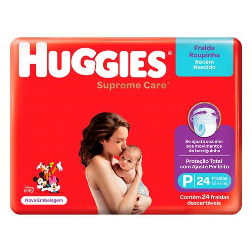 Imagem 1 de 1 de Fraldas Huggies Supreme Care Recém-nascido Roupinha P 24u