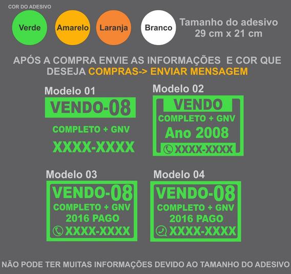 Adesivo Venda De Carro - Placa Vende-se - 2129 Escolha A Cor