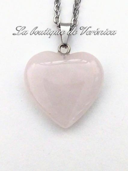 Collar Corazón Cuarzo Rosa Natural Chico Acero Inoxidable