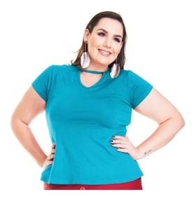 Roupa Feminina Blusa Bata Choker De Malha Plus Size 56+