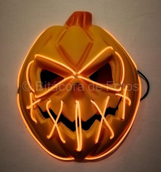 Máscara Calabaza Con Luces Led. Halloween Egresados La Purga