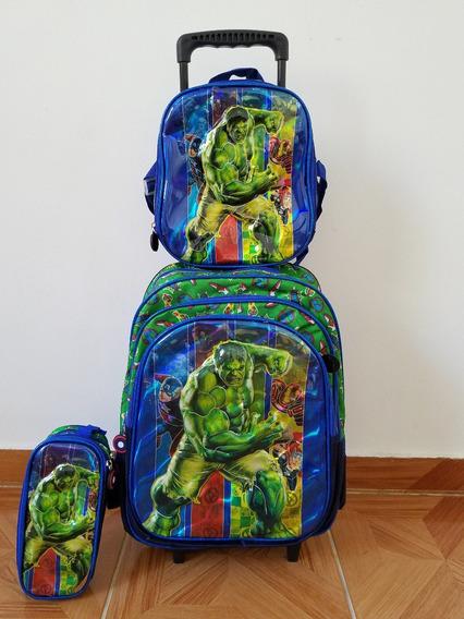 Kit Mochila Infantil Hulk Lancheira+estojo Rodinhas 3d