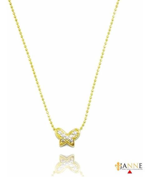 Corrente Colar Gargantilha Borboleta Com Zircônias Ouro 18k