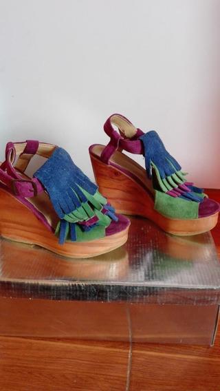 Zapatos Sandalias Plataforma Mujer Gamuza Febo Como Nuevo