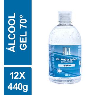 Álcool Gel Antisséptico 70 Inpm Haze 440g Frasco Kit C/ 12un