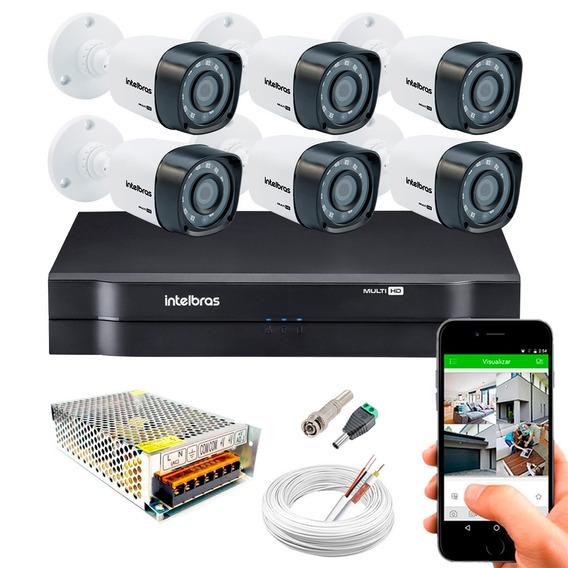 Kit Cftv 6 Câmeras Segurança Hd 720p Dvr Intelbras 1108 Mult