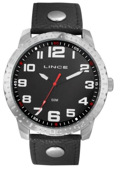Relógio Lince Masculino Couro Fundo Preto 35026