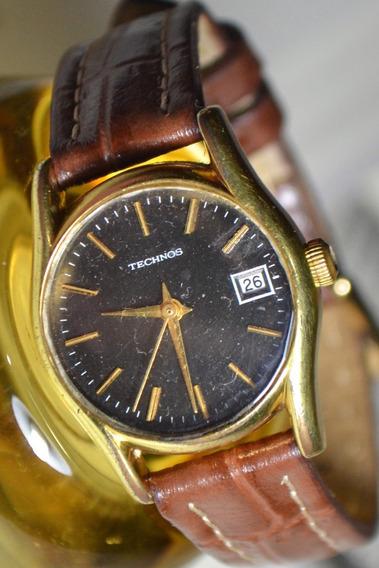 Relógio Feminino Technos Dourado Corda Manual Couro
