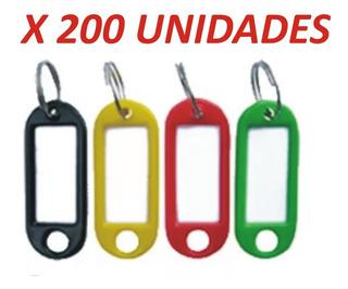 Llaveros Etiqueta Identificadores Plasticos X 200 Unidades
