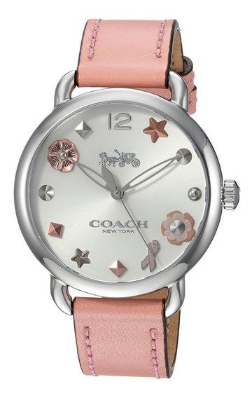 Reloj Coach Delancey Pink Leather Strap Watch 36mm Original