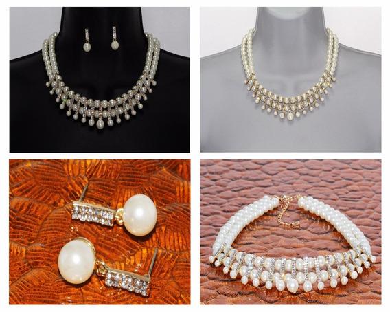 Collar Aretes Set Joyería Dama Dorado Perlas Cristales Ce16