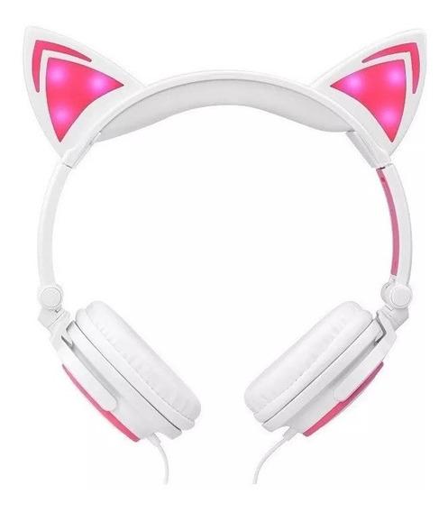 Headphone Fone Cat Orelha De Gato Led Gatinho Lançamento