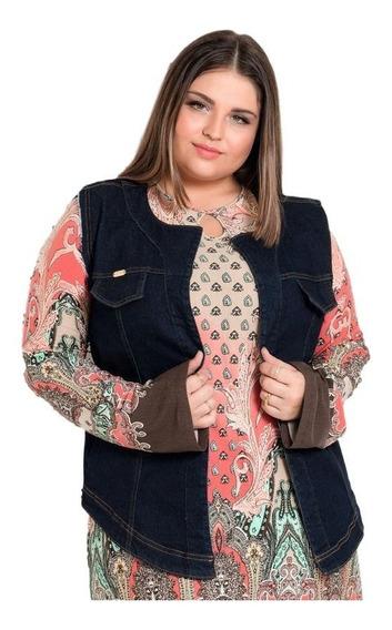 Colete Jeans Plus Size Jaqueta Casaco Blazer