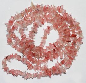 Cascalho Rosa Cristal Cherry Natura Miudo Teostone Colar 422