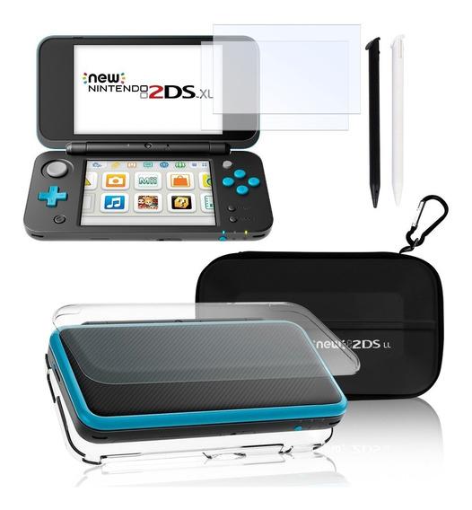 Nintendo 2ds Xl Kit Case + Micas Cristal + Stylus + Estuche