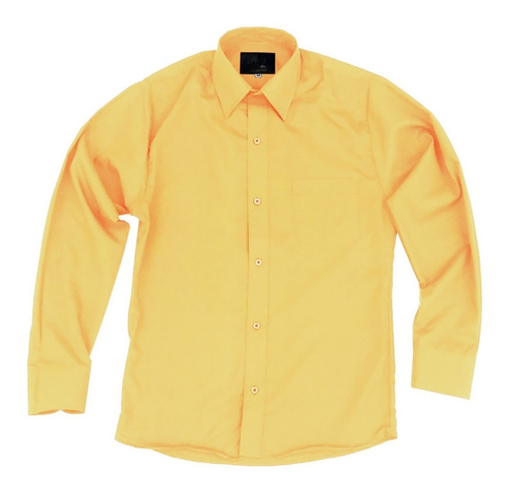 Camisa De Vestir Para Adulto Amarilla 34 A 42