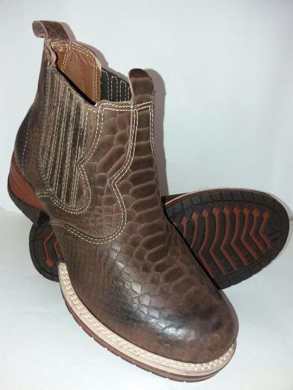 Bota Botina Couro Cobra Estilo Country Cowboy Top Luxo