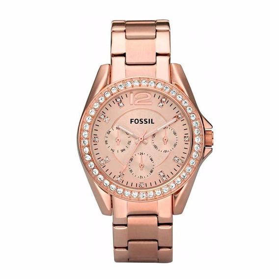 Reloj Fossil Riley Es2811 Acero Oro Rosa Original Para Dama