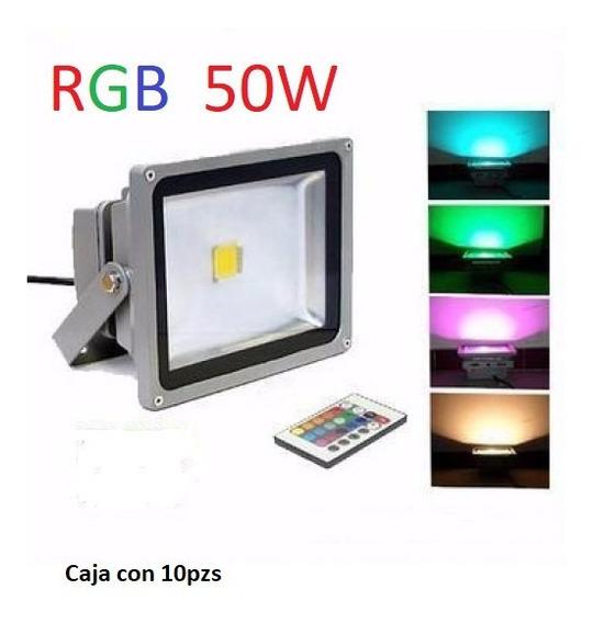 Reflector Rgb Lampara Led 50w Exterior Multicolor Cja 10pzs