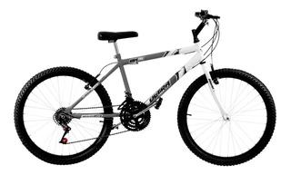 Bicicleta Cinza E Branca 18 Marchas Aro 26 Pro Tork Ultra