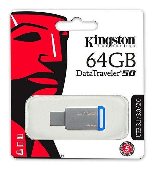 Pendrive Kingston 64gb Usb 3.0 Dt50 Azul - Kingston