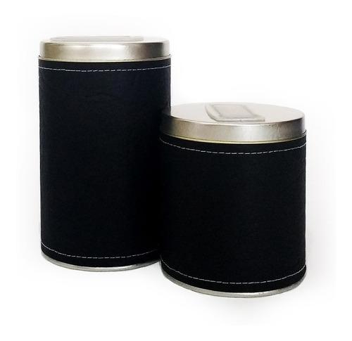 Imagen 1 de 2 de Combo Yerberas Azucareras Latas Duo Cuero Liso Negro