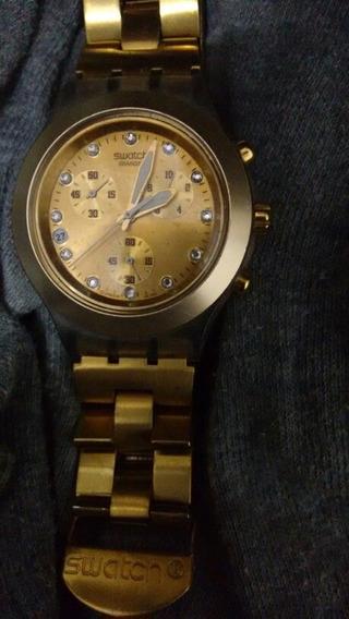 Relógio Original Swatch Swiss Dourado Unissex