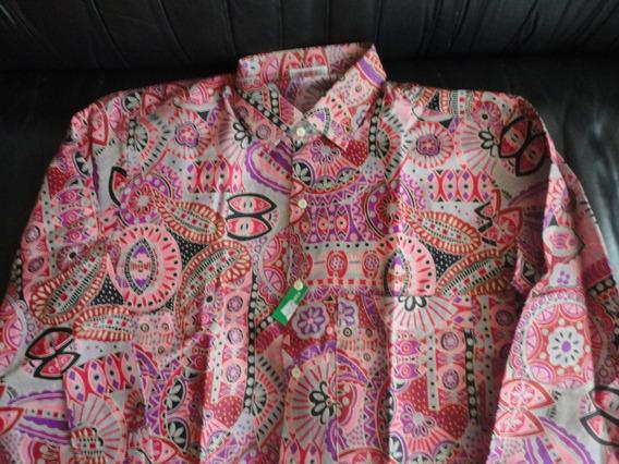 Camisa Caballero Lino Italiano Vintage Estampada Talla L