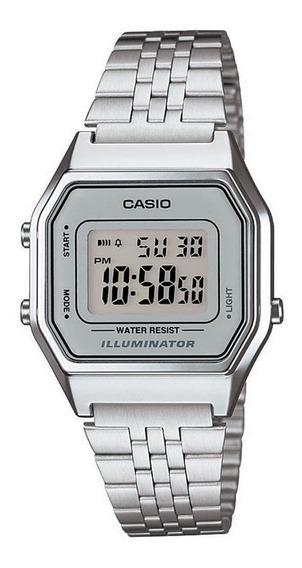 Relógio Casio Feminino La680 Prata C/cinza Mini Retrô