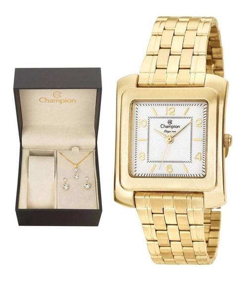Kit Relógio Champion Feminino Dourado Quadrado+ Kit Cn26448w