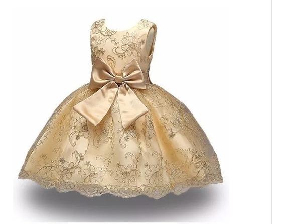 Vestido Infantil Festa Dama Casamento Florista Dourado 28