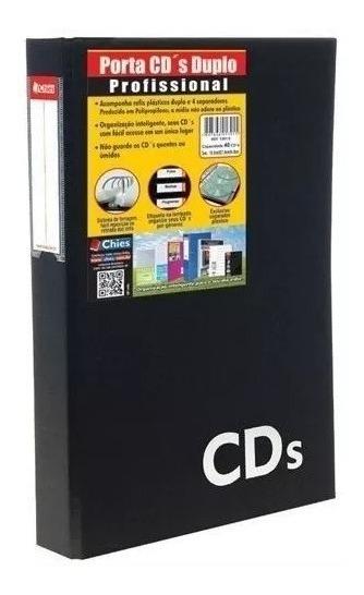 Porta Cds Duplo Chies Profissional 40 Cds Preto C/ 3 Argolas