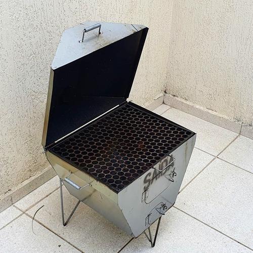 Churrasqueira Bafo Grelha 40x50x70 Prot Carvão Pouco Usada