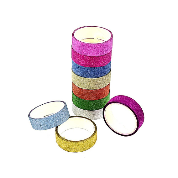 Fita Adesiva Decorativa Gliter Washi Tape Scrapbook 10