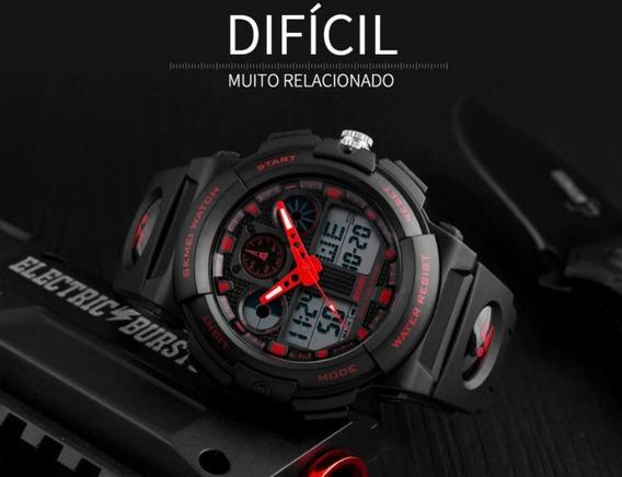 Relógio Masculino Importado Vermelho Digital Analógico Aguá