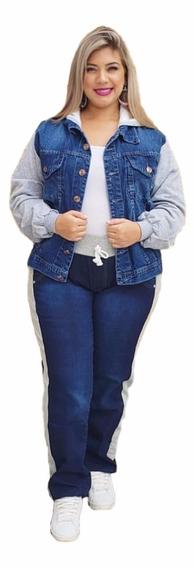 Conjunto Jeans Jaqueta E Calça Com Moletom Plus Size