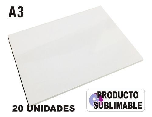 20 Cartones Blancos Para Sublimación Cartón Sublimable A3