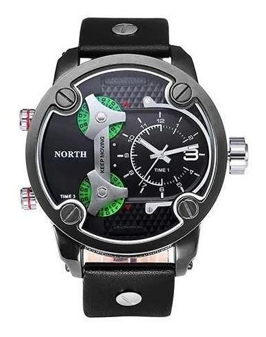 Relógio Importado Masculino North Verde Couro Preto Grande