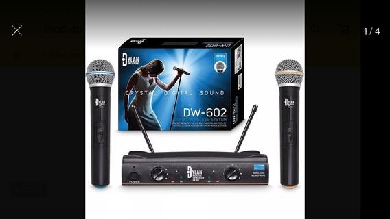 Microfone Dylan Dw-602 Sem Fio Uhf Duplo