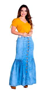 Saia Jeans Longa Botão Nesga Franzido Moda Evangélica Joyaly