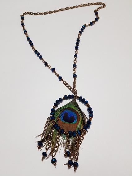 Collar Largo Azul Y Pluma Pavo Real Cadena Oro Viejo