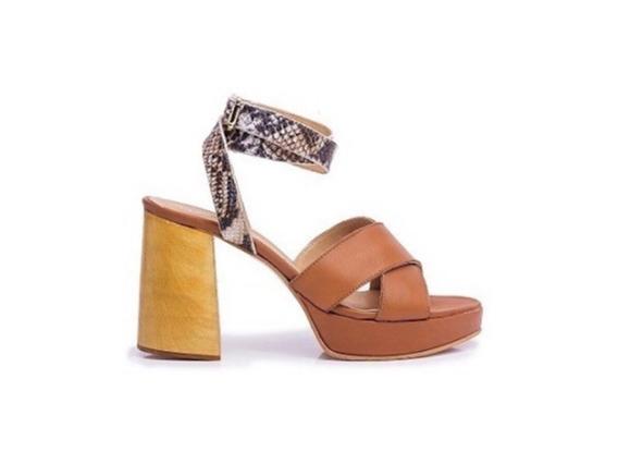 Zapato Mujer Sandalia Natacha Cuero Suela Y Vibora# 3664