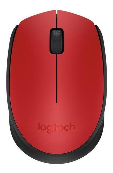 Mouse sem fio Logitech M170 vermelho e preto